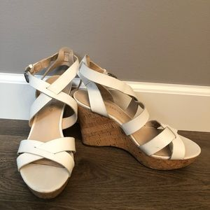 3 for $15🍀Franco Sarto White Wedge Sandals🍀